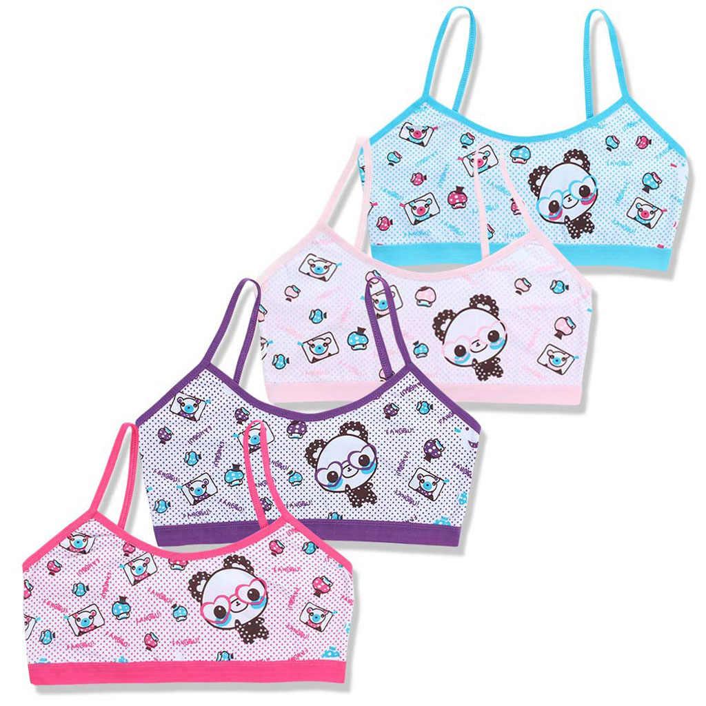 Las chicas adolescentes sujetador de entrenamiento para niños de algodón de la ropa interior de dibujos animados Panda joven pequeño de la escuela los niños chaleco Bras niño ropa interior RXJD