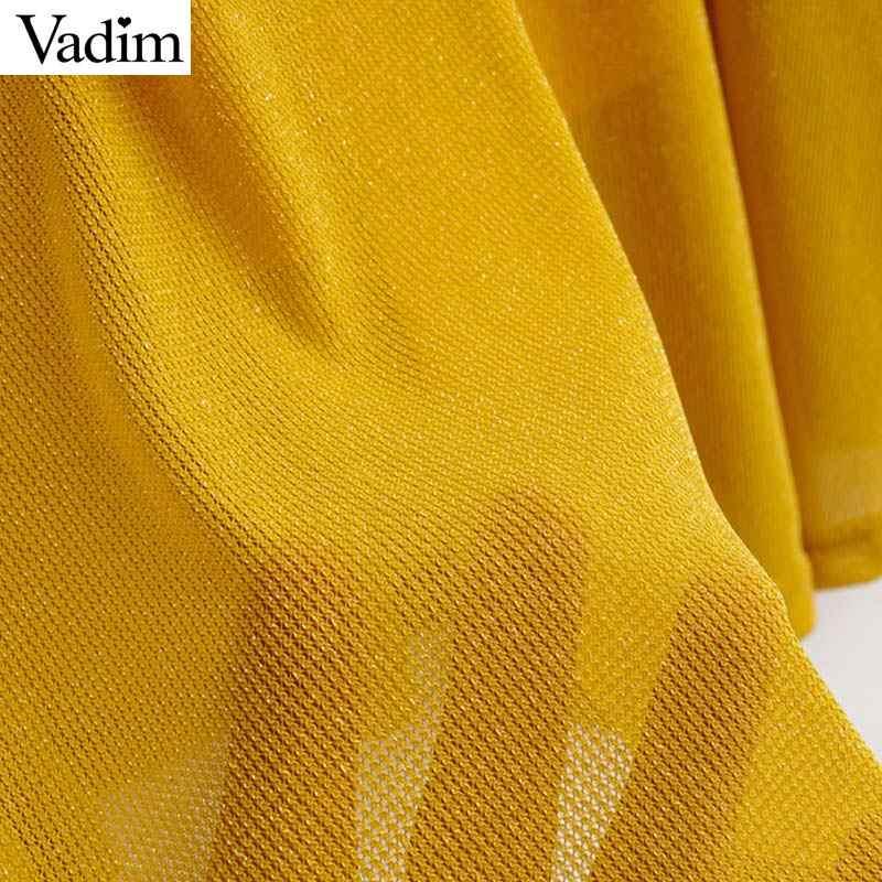 Vadim Sexy Vàng Midi Đầm Cổ V Cột Nơ Xếp Ly Thiết Kế Tay Lửng Nữ Đảng Câu Lạc Bộ Giữa Bắp Chân Váy Vestidos QD011