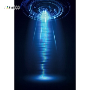 Laeacco UFO Science Fiction Blue Technology Light Home Decor Background Photography Customize Backdrops Props For Photo Studio