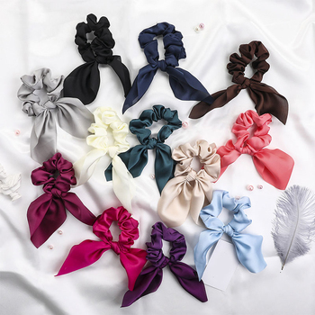 2020 Fashion Chiffon Silk Satin Sweet Bow Hair Scrunchies Women Hair Tie Hair Rope Rubber Bands Ponytail Holder Hair Accessories image