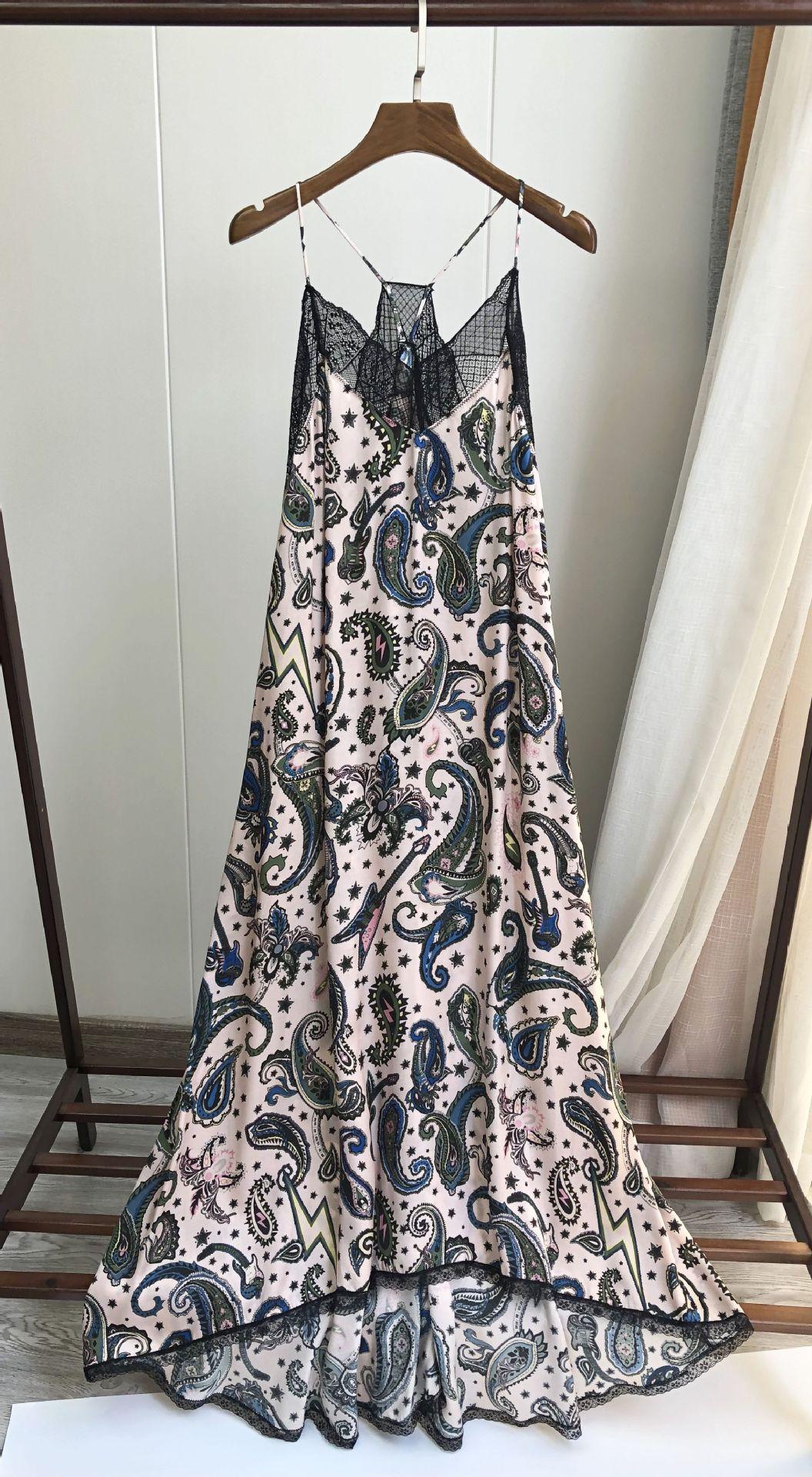 Image 2 - Women Dress 100% Viscose  Romantic Print Cashew Printed Halter Lace Midi DressDresses