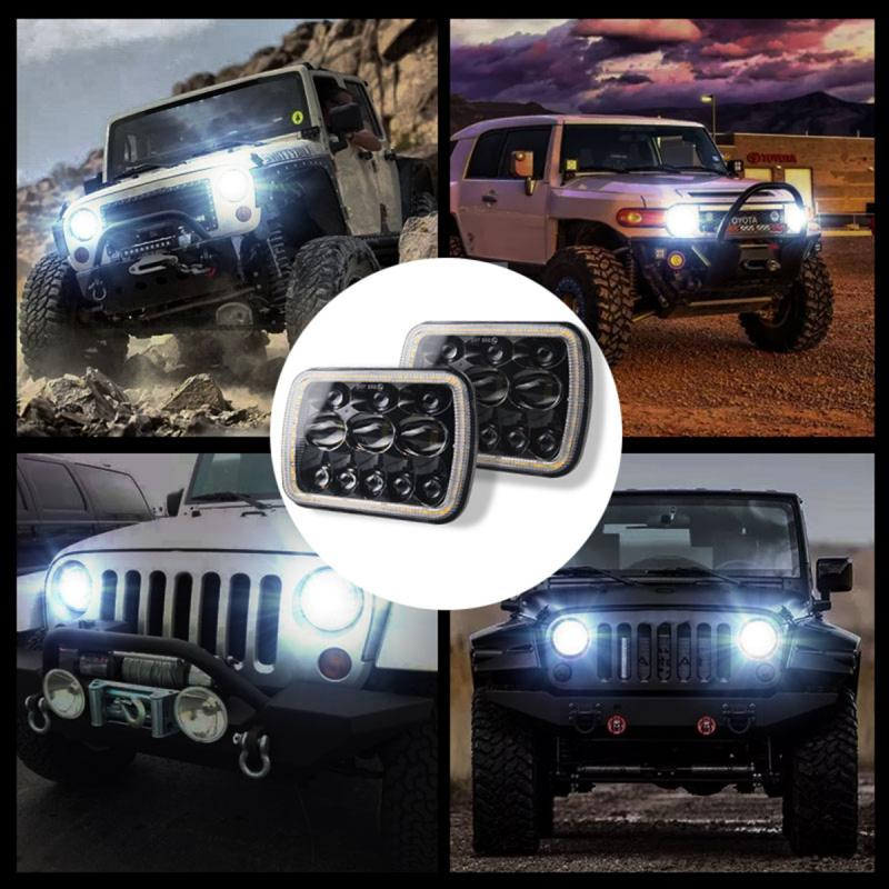 7x6 5x7 Inch 300W LED Headlights IP67 Waterproof Car Light Work Light Daytime Running Lights For Jeep Wrangler YJ Cherokee XJ|Light Bar/Work Light| |  - title=