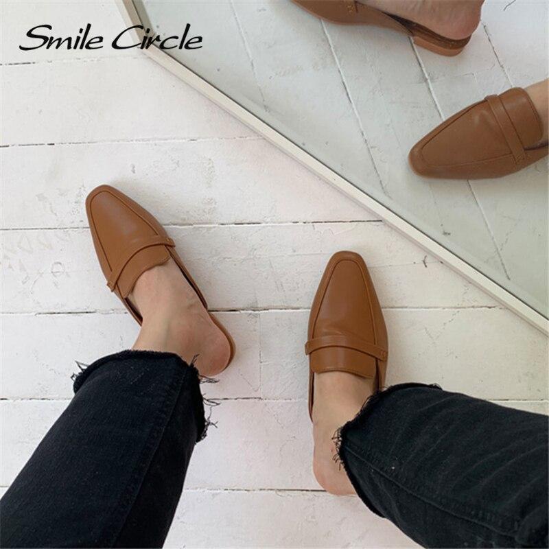 Smile Circle Summer Women Flat Shoes Slip-On Loafers Mules Flip Flops Minimalism Pointed Flat Heel Slipper Ladies sandals 4