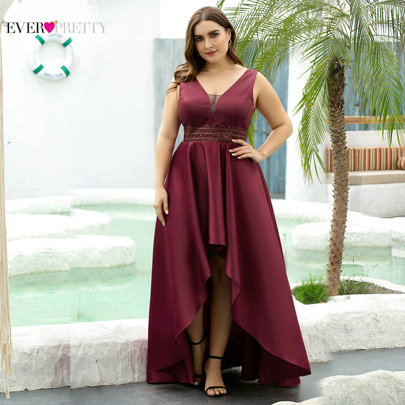 Plus Size Satin Evening Dresses Ever Pretty Sequined Asymmetrical Sleeveless Double V-Neck Sexy Sparkle Party Gowns Vestidos