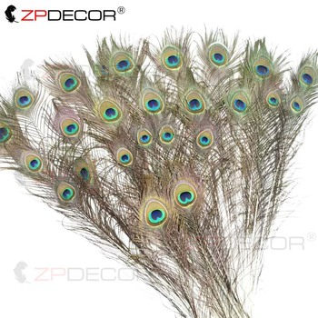 ZPDECOR 80-90 cm Natural color peacock feathers for crafts