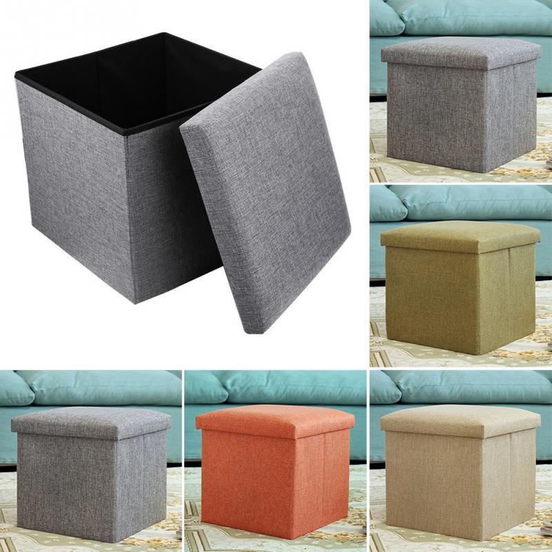 2019 nouveauté carré lin pliant maison boîte de rangement multifonctionnel vêtements organisateur jouet boîte chaise tabouret siège