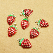 10pcs 10x16mm enamel strawberry charms for jewelry making earring pendant bracelet and necklace charm