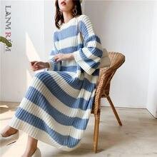 LANMREM-Jersey de cuello redondo a rayas para mujer, suéter holgado Vintage de talla grande, Vestido largo de punto, PC442, otoño e invierno, 2020