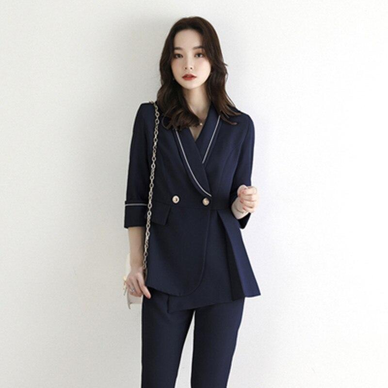 Autumn Temperament Pant Suit New Fashion Blazer Jacket Top + Pants Business 2 Pieces Suits OL Work Casual Female Sets