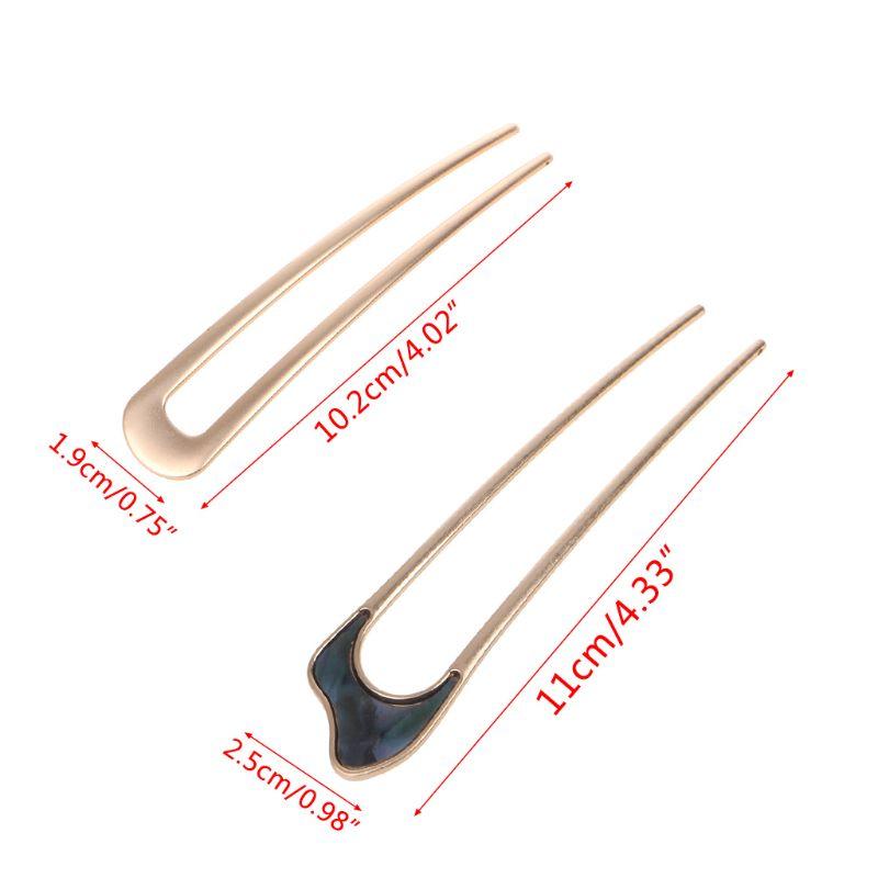 Купить с кэшбэком Women Girls Japanese Style Metal Alloy U-Shape Hair Clip Vintage Hair Sticks For Women Lady Hairpin Bun Tool Headwear