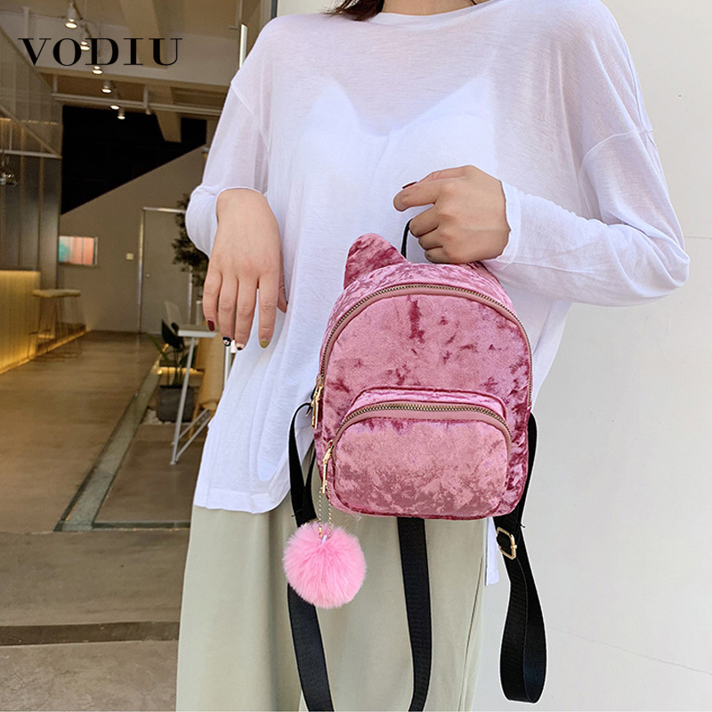 New Fashion Women Backpack Velour Female Bag Zipper Ladies Backpacks Girl Cartoon Kitten Ear Hair Ball Desinger Shoulder Bags