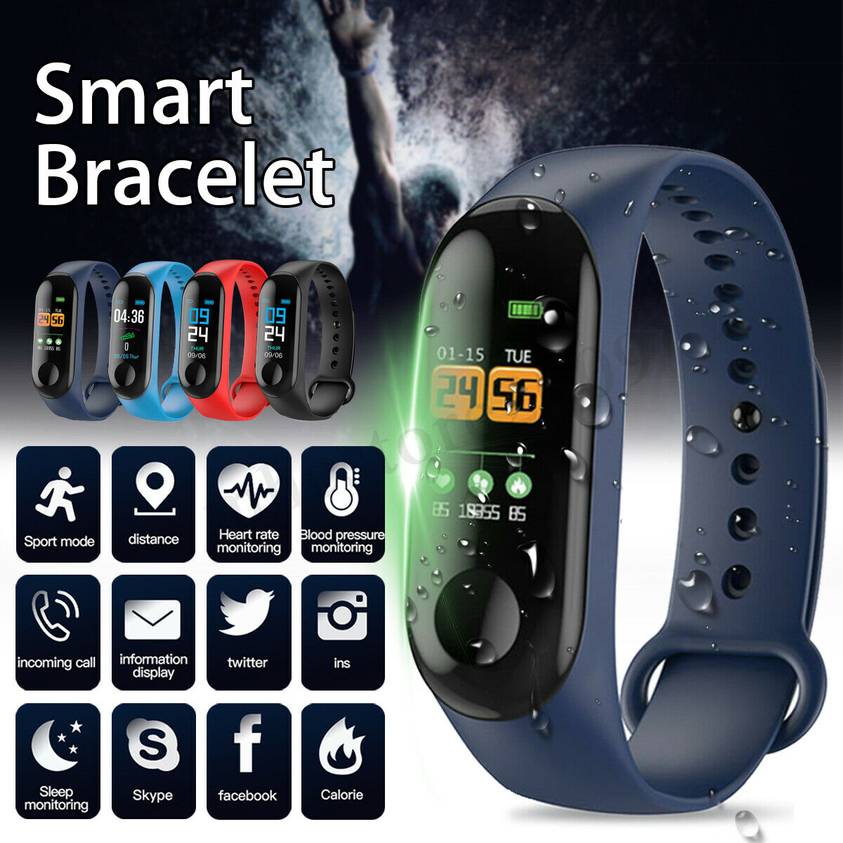 NEW M3 Smart Watch Send Charger wristband IP67 Waterproof Fitness Tracker Smart Bracelet Big Touch Screen For Men Women Watches image