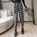 Новинка 2021, женские зимние клетчатые винтажные брюки в стиле Харадзюку, шаровары с высокой талией, модные повседневные уличные брюки, осенн...