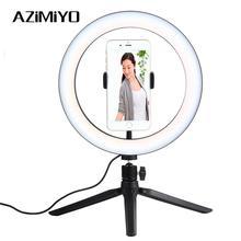 AZiMiYO светодиодный кольцевой светильник для селфи с регулируемой яркостью для камеры, кольцевой светильник для телефона, штатив, стойка, фотографическое освещение для Youtube video live