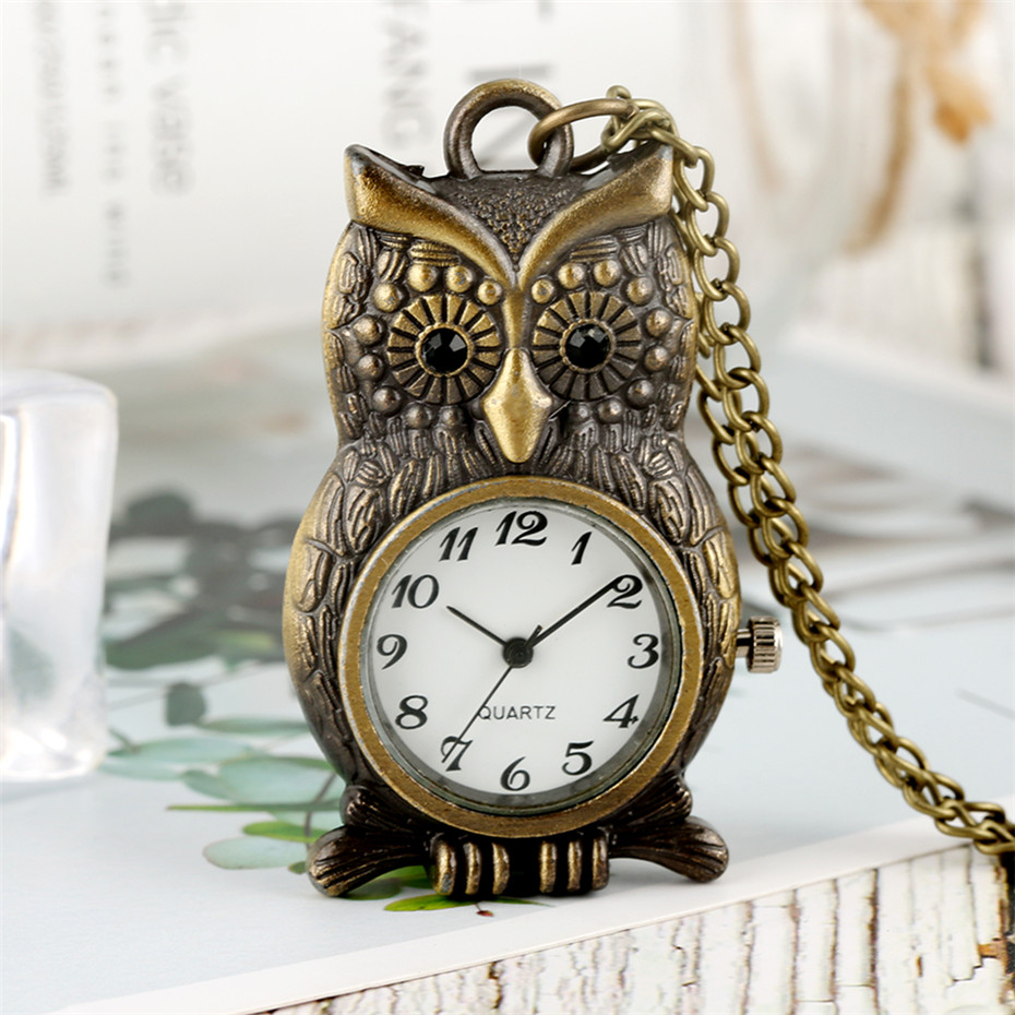 Bronze Owl Shape Pendant Watch Quartz Pocket Watch Retro Fob Sweater Chain Arabic Numerals Display Necklace Clock