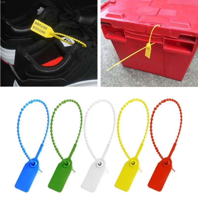100Pcs Disposable Plastic Pull-Tite Security Seals Signage Numbered Self Locks L29K