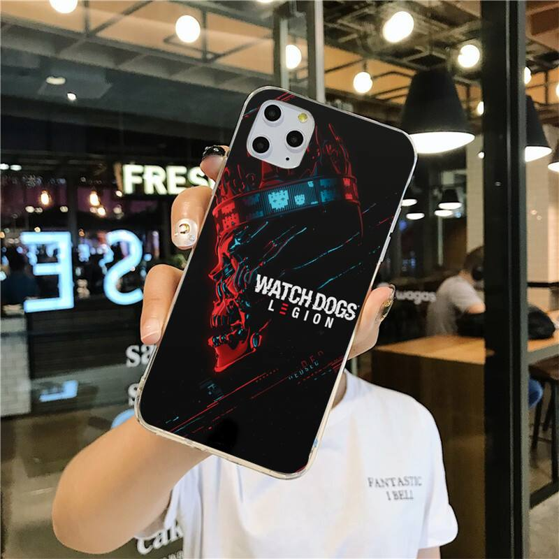 YJZFDYRM Hot Games Watch Dogs Legion Painted Phone Case for iPhone 11 pro XS MAX 8 7 6 6S Plus X 5S SE 2020 XR cover