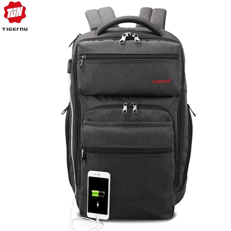 """Tigernu marka USB do ładowania 15.6 """"laptopa przed kradzieżą mężczyźni mody plecak szkolny mężczyzna Durable Mochila podróży torby casual dla chłopców w Plecaki od Bagaże i torby na  Grupa 1"""