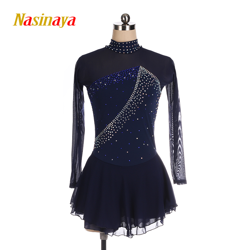 Nasinaya Figure Skating Dress Customized Competition Ice Skating Skirt for Girl Women Kids Gymnastics blue polyamide