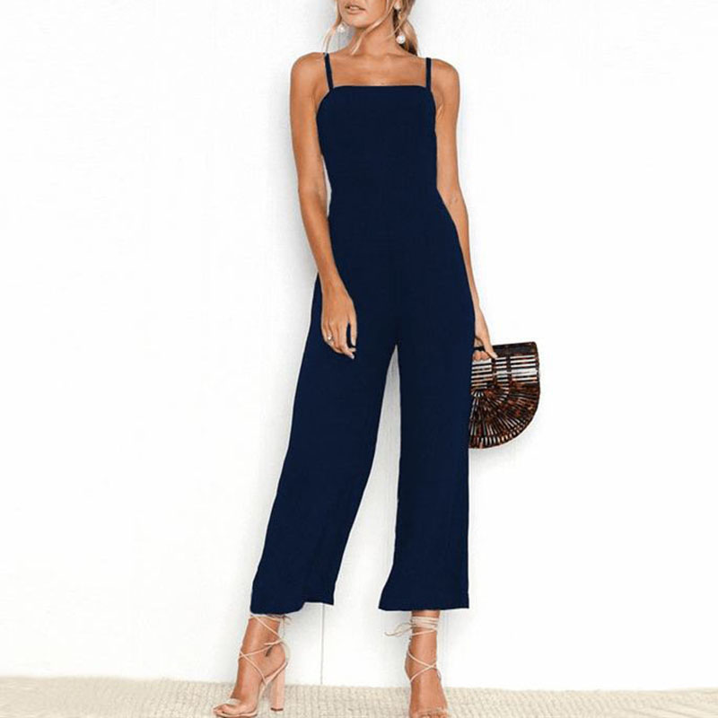 Spring Summer Casual Jumpsuits Women Backless Spaghetti Strap Long Jump Suits Solid Loose Party Rompers New Black Ladies Clothes
