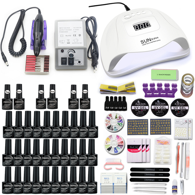 30/20pcs Gel Nail Set 120/54W UV Lamp Nail Dryer For Manicure Gel Electric Nail Drill For Nail Art Cutter Tools