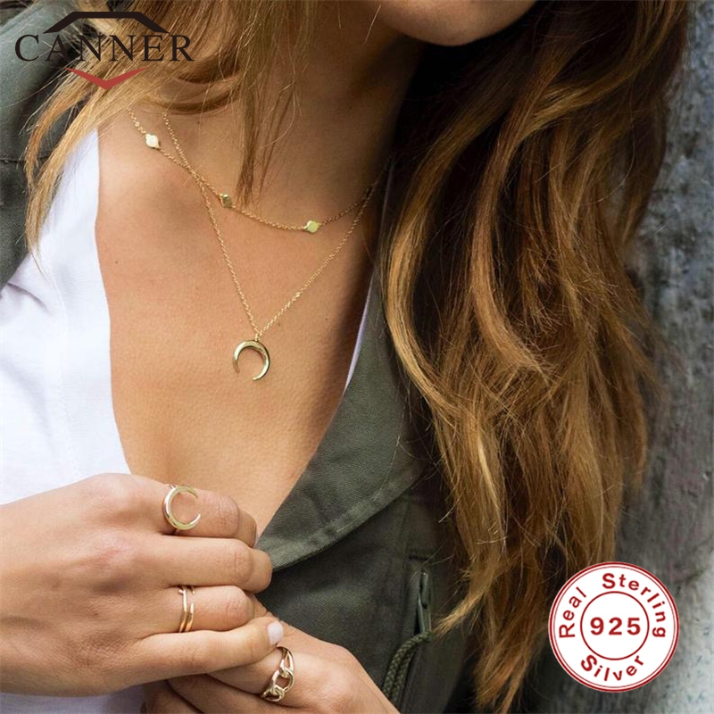 100% Real 925 Sterling Silver Pendant Necklace For Women Simple Personality Retro Ins Moon Chain Necklace Gold Color Necklace