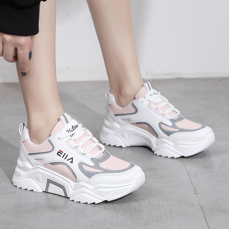 Женские кроссовки на танкетке, белые кожаные кроссовки на толстой подошве, спортивная обувь для тенниса, 2020