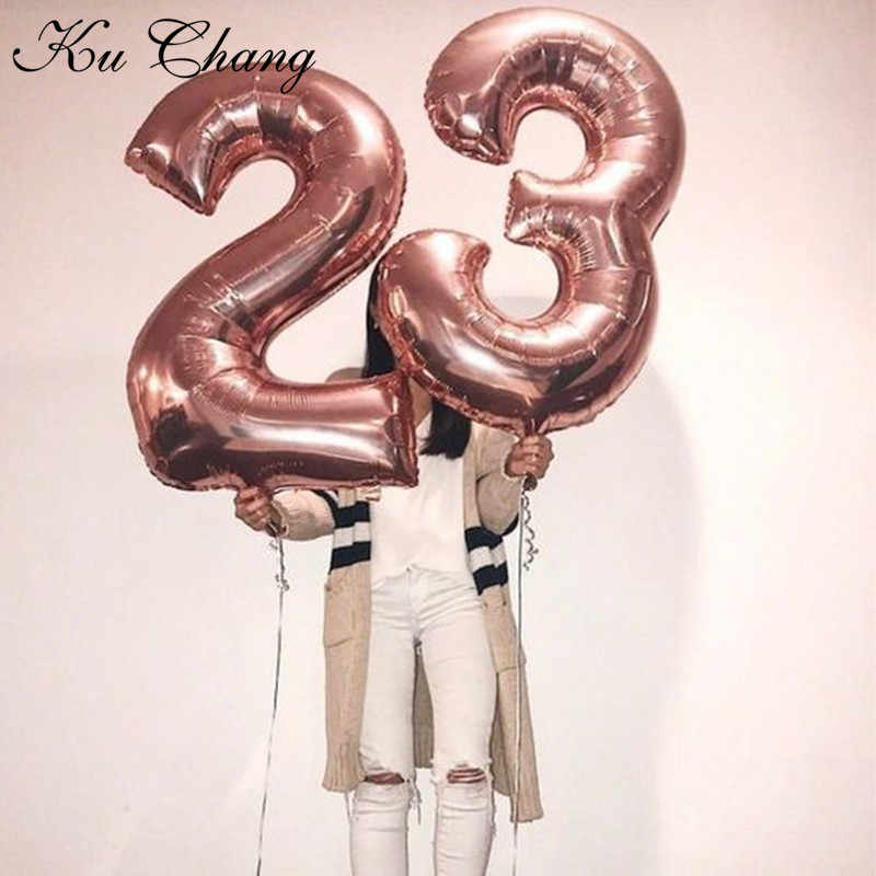 16/30/40 Polegada 1 pc número balões folha ouro prata rosa ouro decorações do chá de fraldas decorações festa de aniversário do casamento