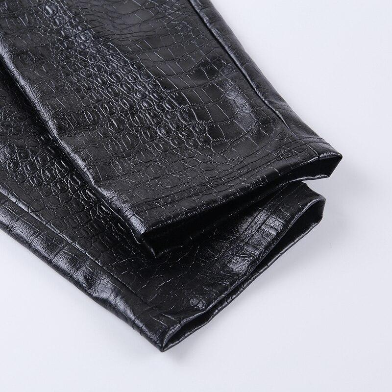 InstaHot Black High Waist Pencil Faux Leather Pants Women Casual Elegant Carving Print Ankle Length Pants Streetwear Trousers 73