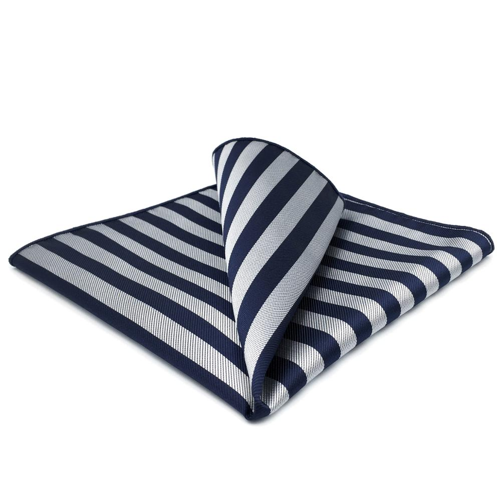 GH09 Gray Blue Striped Mens Pocket Square Silk Classic Fashion Handkerchief Gift Fashion Hanky