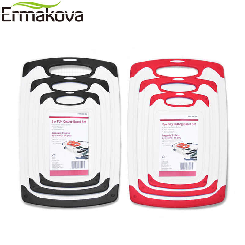 ERMAKOVA 8mm Thick Plastic Cutting Board Chopping Board Plastic Cutting Block Non-Slip Feet Deep Drip Juice Groove Easy-Grip