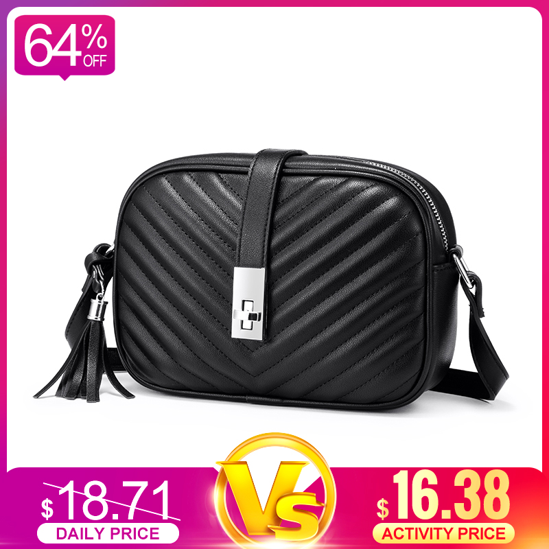 Realer Women Bag Shoulder Bags For Women 2019 Striped Flap Crossbody Bags Female Small Black Square Bag PU Leather With Tassel