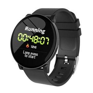 Image 1 - W8 ساعة ذكية مقاوم للماء الرجال النساء ضغط الدم مراقب معدل ضربات القلب توقعات الطقس اللياقة البدنية الرياضة Smartwatch ل أندرويد IOS