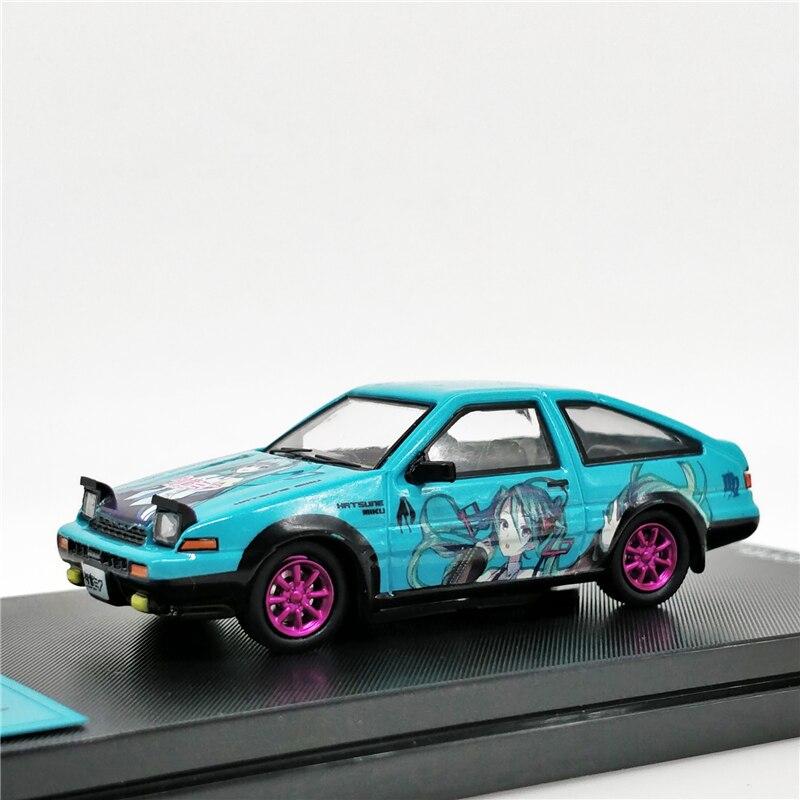 Time Model 1:64 Toyota AE86 Hatsune Miku Itasya Pink Wheel Diecast Model Car