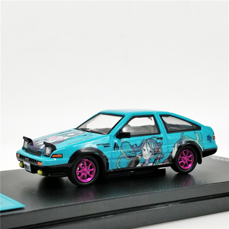 Time <font><b>Model</b></font> 1:64 Toyota AE86 Hatsune Miku Itasya Pink <font><b>wheel</b></font> Diecast <font><b>Model</b></font> <font><b>Car</b></font> image