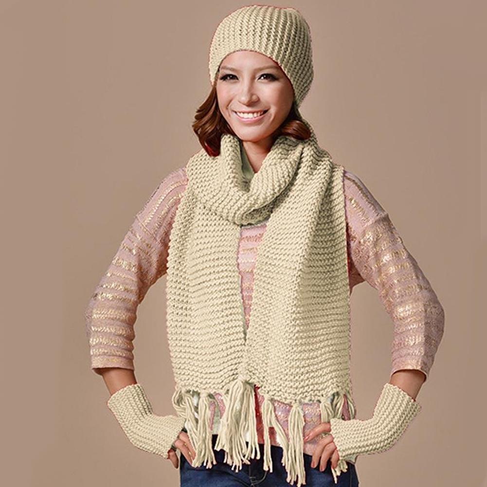 Hot Sale A Set Fashion Hat Scarf 2 Pcs Women Winter Warm Neck Wrap Shawl Cotton Knitting Hat Set Gift Female шарф женский