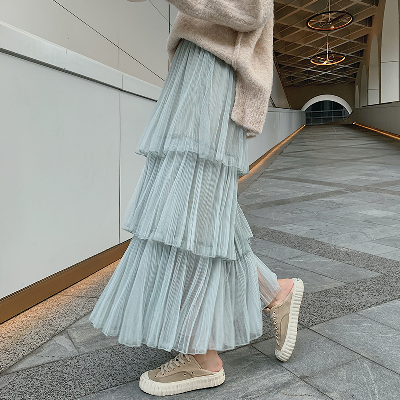 12 Solid Color Maxi Long Tulle Skirt Cake Pleated Tutu Skirts Womens Vintage Lolita High Waist Long Skirts Womens (mm7315)
