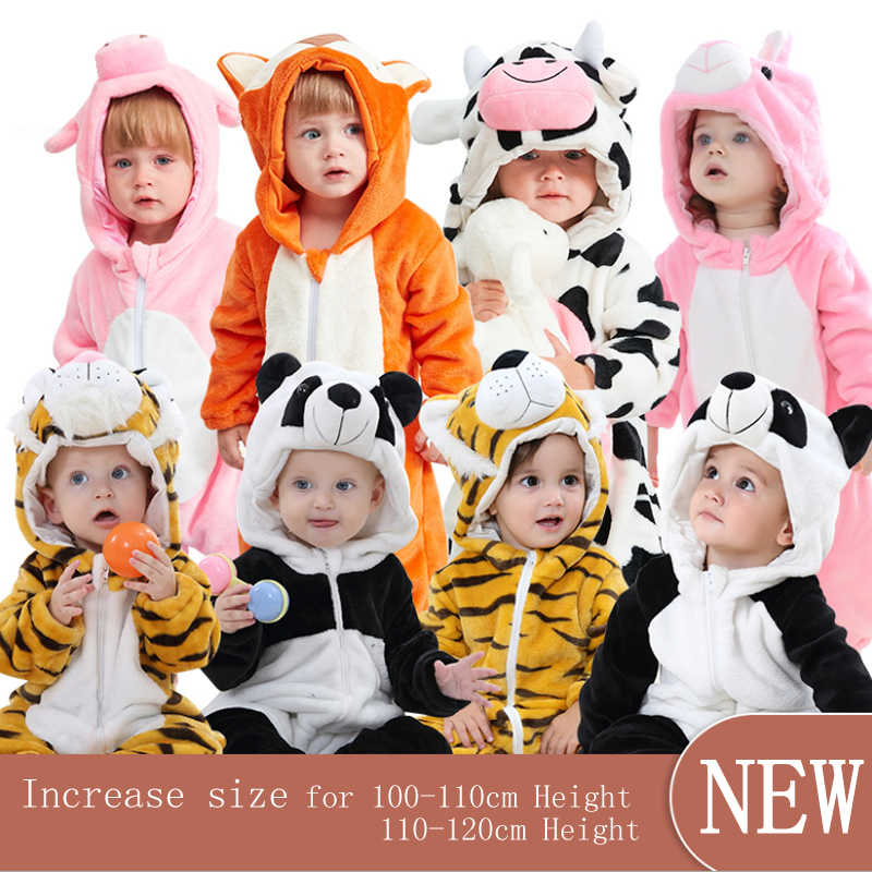Newborn Baby Boys Girls Cow Print Romper Cute Hooded Outfits Clothes Pajamas US