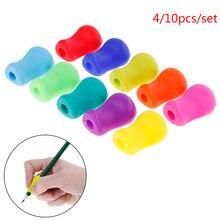 4/10 pces silicone corrector terapia ajuda de escrita crianças estudante escola papelaria caneta controle escrita direita