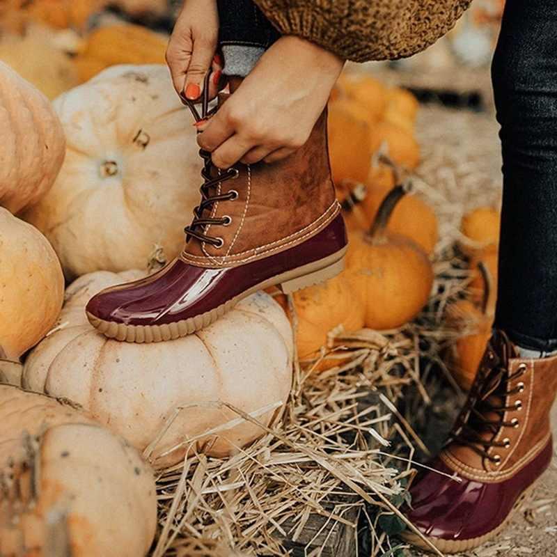 Bayan botları bayan ördek çizme su geçirmez fermuar kauçuk taban kadın yağmur çizmeleri ayak bileği bağcığı ayakkabı kürk kış kadın ayakkabı