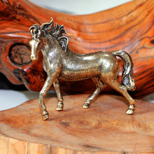 Pure Copper 12 Zodiac Solid Horse Feng Shui Ornaments Vintage Bronze Running Horses Statue Miniatures Figurines