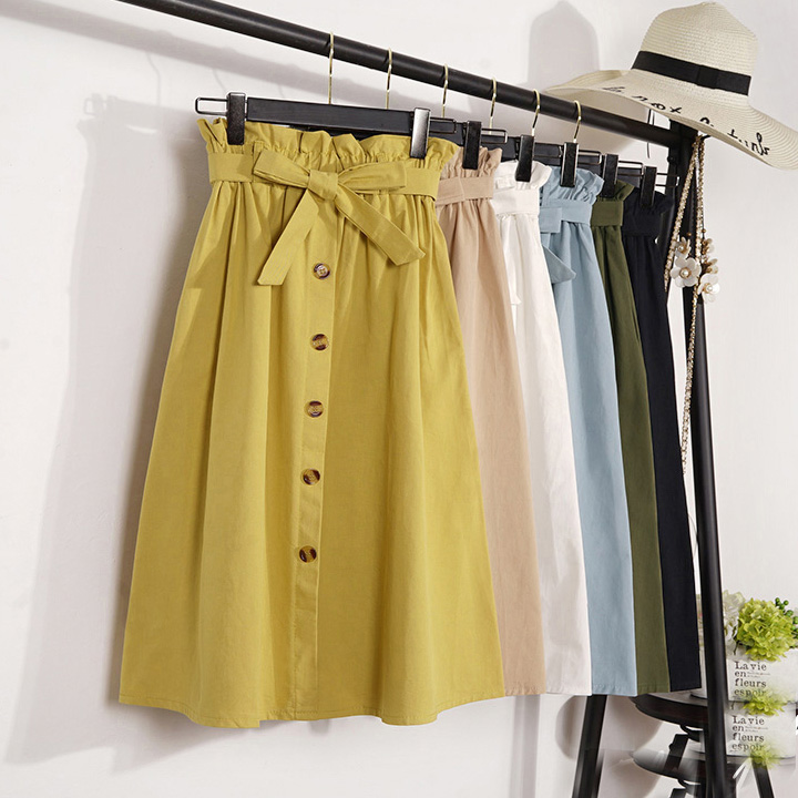 2019 Womens Skirts Mid-Calf Elegant Button High Waist Skirt Female A-Line Skirt Plus Size Femininas Faldas Mujer