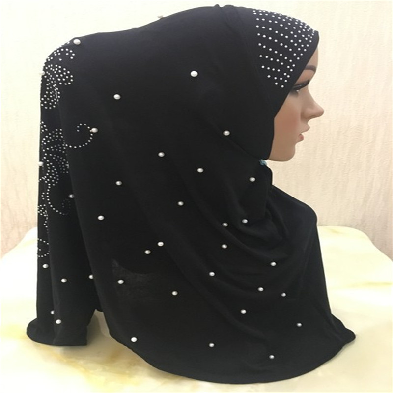 2020 Fashion Muslim Women Pearls Instand Hijab Ready to Wear Diamonds Headwraps Cap Islamic Female Ramadan Headscarf Prayer Hat