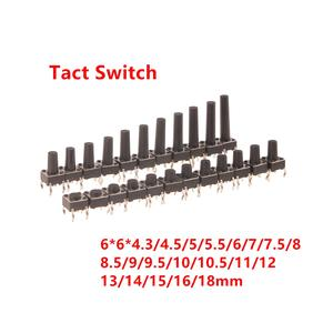 Switch-Dip Momentary Tactile Push-Button PCB 6x6mm-Panel 6--6--4.3mm 4pin Mini 5mm 8mm--18mm
