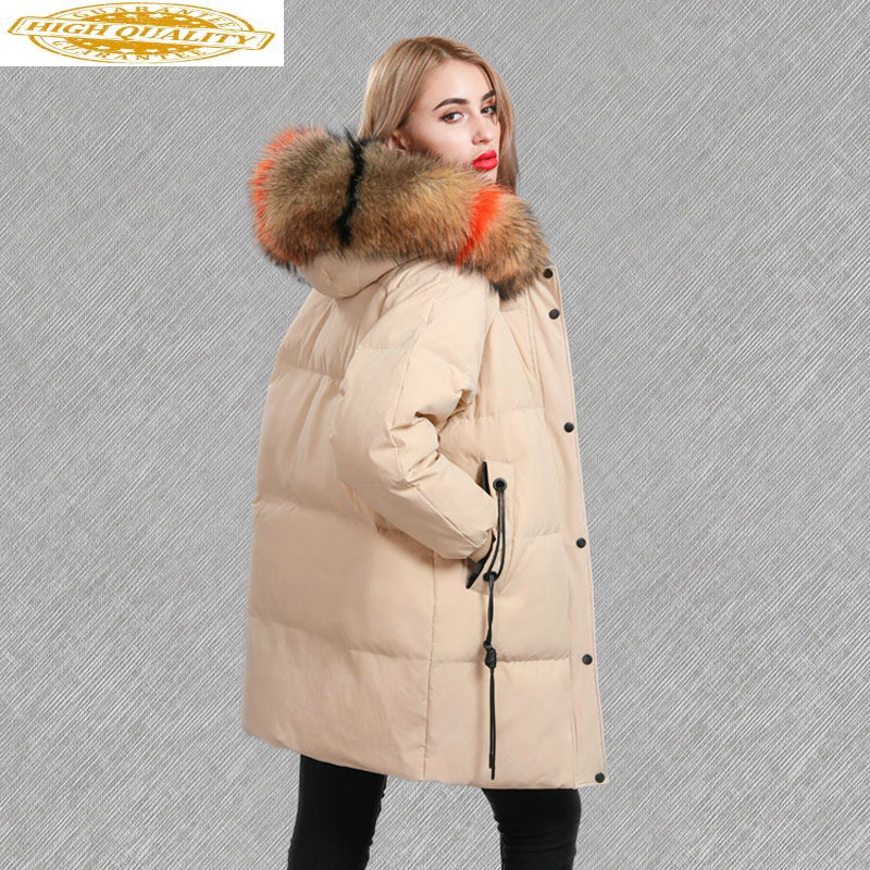 Winter Coat Women's Down Jacket Multicolor Large Racoon Fur Long Korean Ladies Coats And Jackets Women Parka Mujer KJ607