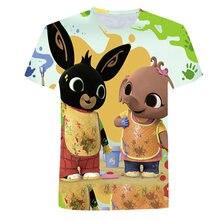 Novo 3d-impresso crianças casual cutie animal coelho camiseta 2021 novos meninos e meninas dos desenhos animados bing mudou topo o coleiras roupas divertidas