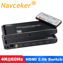 Navceker 2X1 HDMI Switch Remote 4X1 HDMI Switch 2.0 4K @ 60Hz 3D HDR HDMI switch TOSLINK Arc untuk Xbox 360 PS4 Smart Android HDTV(China)