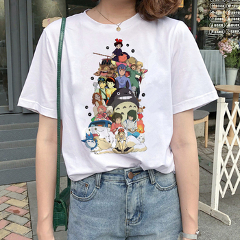 totoro Spirit Away t shirt Studio Ghibli femme Japanese cartoon Anime women tshirt t-shirt Miyazaki Hayao clothes female kawaii 1