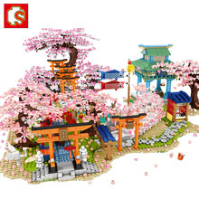 SEMBO Sakura Blocks Creator City Cherry Blossom Mini Street View Japanese Sakura House Tree Model Building Blocks Children Toys