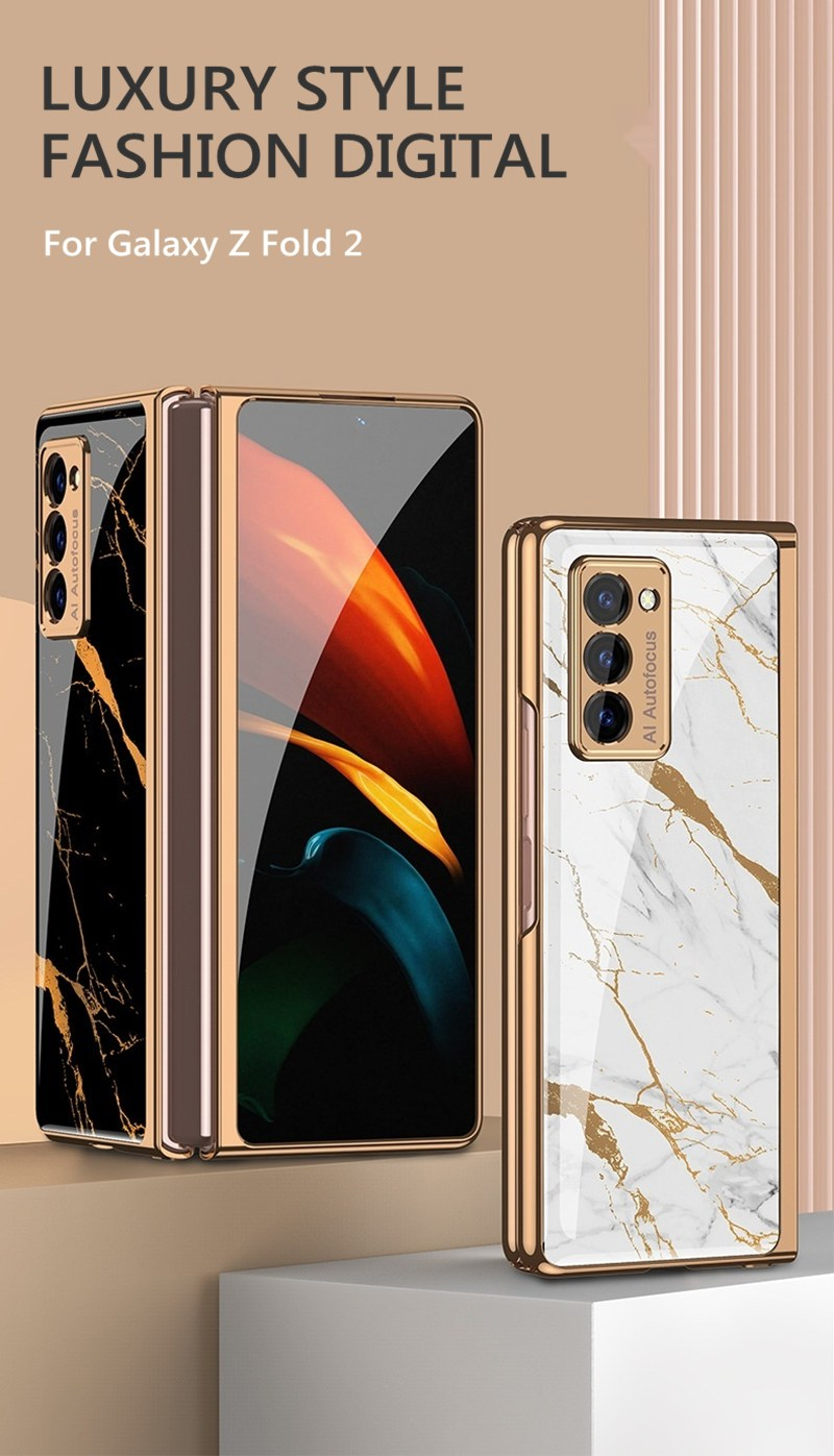 360 Full Protection Plating Glass Shockproof Phone Case For Samsung Galaxy Z Fold 2 & Z Flip